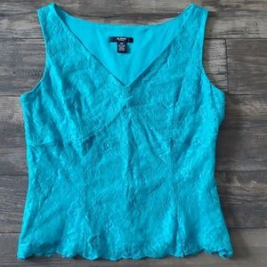Alfani Petite Lace Overlay V-Neck Sleeveless Top